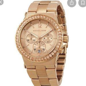 MICHAEL KORS Rose Gold Baguette Chronograph Watch